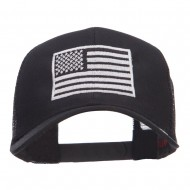 Silver American Flag Embroidered Mesh Cap - Black