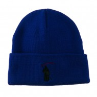 Halloween Solid Image of the Grim Reaper Embroidered Long Beanie - Royal
