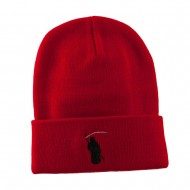 Halloween Solid Image of the Grim Reaper Embroidered Long Beanie - Red