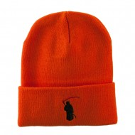 Halloween Solid Image of the Grim Reaper Embroidered Long Beanie - Orange