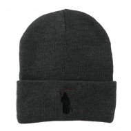 Halloween Solid Image of the Grim Reaper Embroidered Long Beanie - Grey