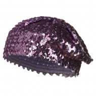 Sequin Knitted Beret - Lilac