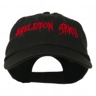 Halloween Skeleton Army Embroidered Low Profile Washed Cap - Black