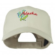 USA State Alaska Flower Embroidered Low Profile Cotton Cap - Stone