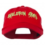 Halloween Skeleton Army Embroidered Low Profile Washed Cap - Red