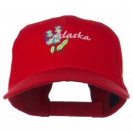 USA State Alaska Flower Embroidered Low Profile Cotton Cap - Red