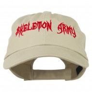 Halloween Skeleton Army Embroidered Low Profile Washed Cap - Khaki