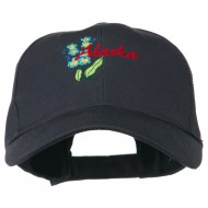 USA State Alaska Flower Embroidered Low Profile Cotton Cap - Navy