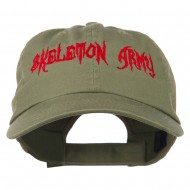 Halloween Skeleton Army Embroidered Low Profile Washed Cap - Olive