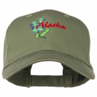 USA State Alaska Flower Embroidered Low Profile Cotton Cap - Olive