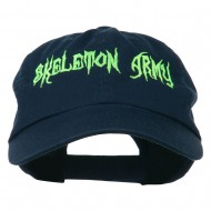 Halloween Skeleton Army Embroidered Low Profile Washed Cap - Navy