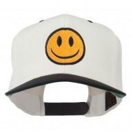 Smiley Face Embroidered Two Tone Cap - Natural Black