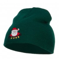 Santa with Christmas Lights Embroidered Short Beanie - Dk Green