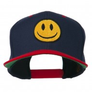Smiley Face Embroidered Two Tone Cap - Navy Red