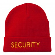 Security Embroidered Long Knitted Beanie - Red