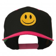 Smiley Face Embroidered Two Tone Cap - Black Pink