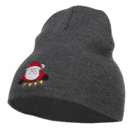 Santa with Christmas Lights Embroidered Short Beanie - Grey