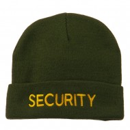 Security Embroidered Long Knitted Beanie - Olive