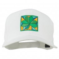 St Patrick's Day Clover Leaf Embroidered Cap - White