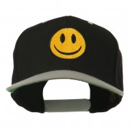 Smiley Face Embroidered Two Tone Cap - Black Silver