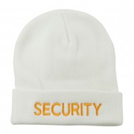 Security Embroidered Long Knitted Beanie - White