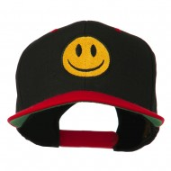 Smiley Face Embroidered Two Tone Cap - Black Red