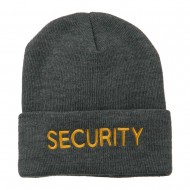 Security Embroidered Long Knitted Beanie - Grey
