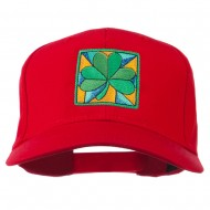 St Patrick's Day Clover Leaf Embroidered Cap - Red