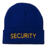 Security Embroidered Long Knitted Beanie - Royal