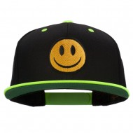 Smiley Face Embroidered Two Tone Cap - Neon Yellow
