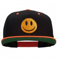 Smiley Face Embroidered Two Tone Cap - Neon Orange