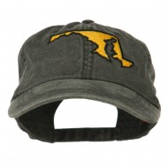 Maryland State Map Embroidered Washed Cap - Black