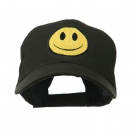 Smiley Face Embroidered Cap - Black