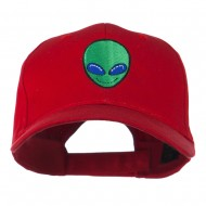 Smiley Alien Embroidery Cap - Red