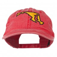 Maryland State Map Embroidered Washed Cap - Red