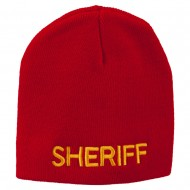 Sheriff Military Embroidered Beanie - Red