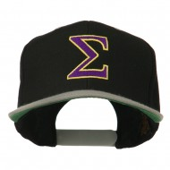 Greek Alphabet SIGMA Embroidered Two Tone Cap - Black Silver