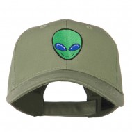 Smiley Alien Embroidery Cap - Olive