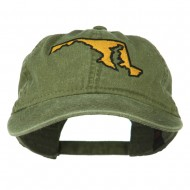 Maryland State Map Embroidered Washed Cap - Olive