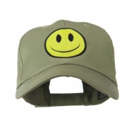 Smiley Face Embroidered Cap - Olive