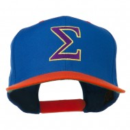 Greek Alphabet SIGMA Embroidered Two Tone Cap - Royal Orange
