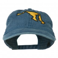 Maryland State Map Embroidered Washed Cap - Navy