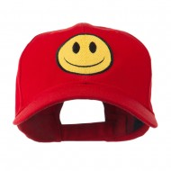 Smiley Face Embroidered Cap - Red