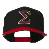 Greek Alphabet SIGMA Embroidered Two Tone Cap - Black Red