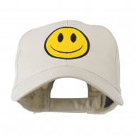 Smiley Face Embroidered Cap - Stone