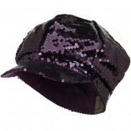 Sequin Newsboy Cap - Purple