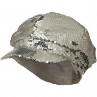 Sequin Newsboy Cap - Silver