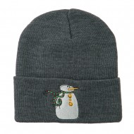Snowman with Scarf Embroidered Cuff Beanie - Grey