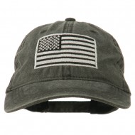 Silver American Flag Embroidered Washed Cap - Black