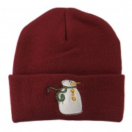 Snowman with Scarf Embroidered Cuff Beanie - Maroon